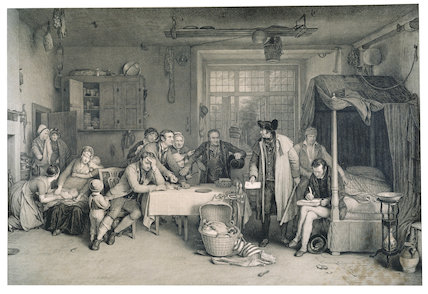 DISTRAINING FOR THE RENT, after David Wilkie, 1815 engraving by Abraham Raimbach, published 1828, National Gallery of Scotland