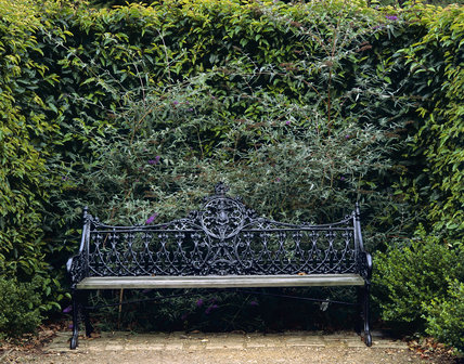 Ornate wrought iron bench in gardens at Ickworth, surrounded by a frame of leafy herbage
