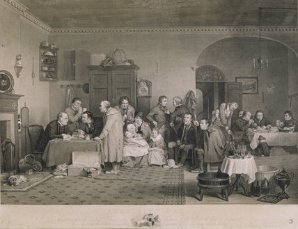 RENT DAY after David Wilkie 1817 engraved by Abraham Raimbach showing a group of people awaiting their turn to pay rent with a group of three men enjoying a meal in the background
