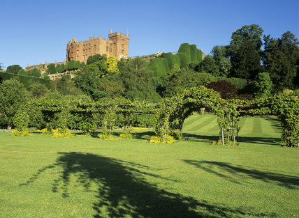 View of Powis Castle and the 17th century Italianate terraces from the corner of the Formal Garden