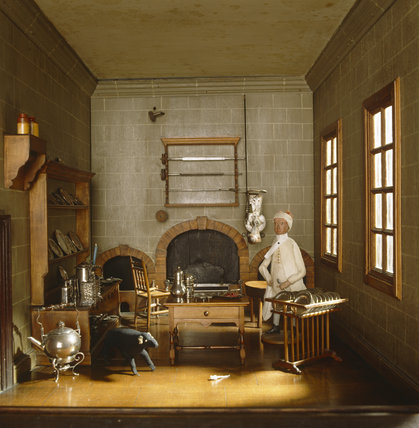 Close-up view of the Kitchen in the Doll's House, made c. 1735