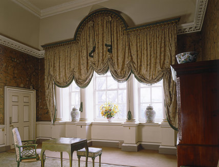 View of the large Venetian window curtain in the State Dressing Room at Nostell Priory