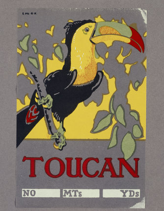 Textile Trade Label from Quarry Bank Mill depicting a brightly coloured toucan on a branch surrounded by leaves.