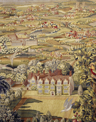 The garden front of Anglesey Abbey appears in a tapestry commissioned by Lord Fairhaven in 1931