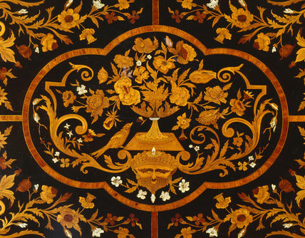 Detail of centre of marquetry table-top in the Ante Room