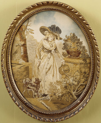 C18th silk embroidery of a lady gardener, at Fenton House