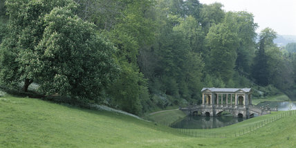 Middle distance view of the Palladian Bridge at Prior Park built by Richard Jones in 1755 of Bath stone
