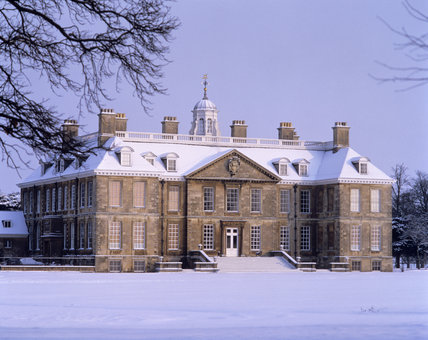 View of the east front of Belton House in the January snow