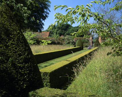 A path through the Orchard & Spring Bulb Garden at Hinton Ampner flanked by neatly trimmed hedges