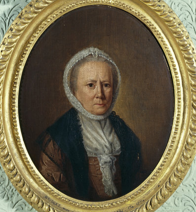 BRIDGET PENNYMAN - an oval portrait by a follower of John Downman hanging in the Ante Room