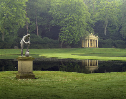 The Water Garden at Fountains Abbey with the Classical Temple of Piety built by John Aislabie in early C18th (originally dedicated to Hercules), and the statue of Galen