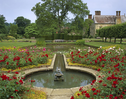 The Rose Garden and Pond in the Formal Garden at Bateman's