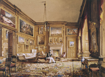 THE SALOON BY Nicholas Condy,in the Exhibition room, showing a young man sitting on a stool with pictures on all the walls, sofas and a chandelier