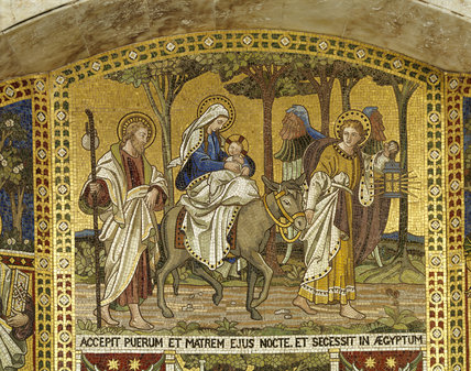 Biblical mosaic panel of 'The Flight into Egypt' in the Octagon Temple by Clayton & Bell, c.1893.