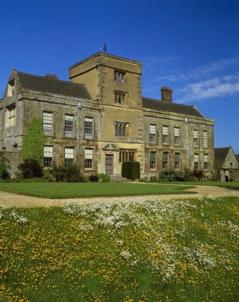 The S. front of Canons Ashby House, showing the Staircase Tower