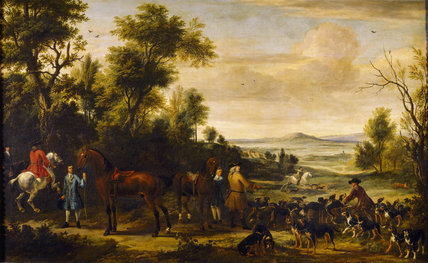 GILBERT, 4th EARL OF COVENTRY IN THE HUNTING FIELD by Jan Wyck (1645-1700) and John Vandervaart (1653-1727)