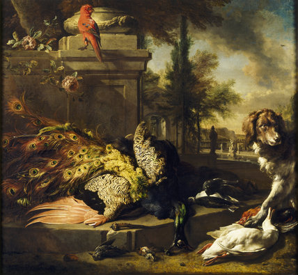 PEACOCK AND SPANIEL, Dutch still life painting showing a dog with its paw on a dead duck, a dead peacock and other dead birds against a background of ruins