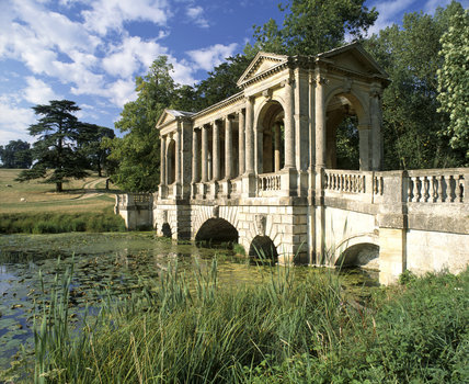 Oblique view of the Palladian Bridge at Stowe