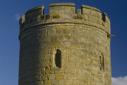 Exterior of Bodiam Castle showing detail of turret