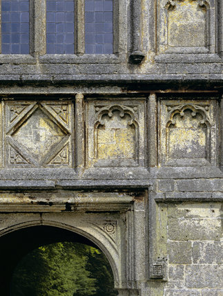 A close-up detail of the stonework on the Gate House of Lanhydrock from the west