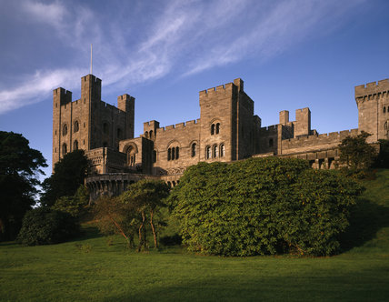 The east front of Penrhyn Castle against the blue sky