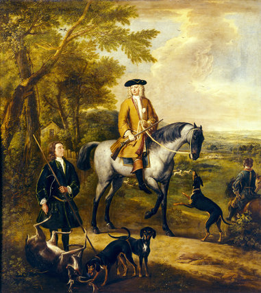 GILBERT, 4th EARL OF COVENTRY WITH TWO HUNTSMEN IN A Landscape by John Wootton (c