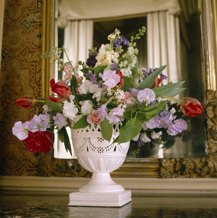 Early c19th flower arrangement in The Yellow Bedroom, at Lyme Park