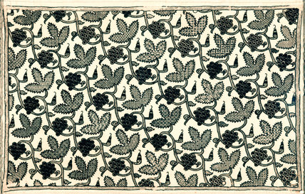 A rare example of Elizabethan 'black work', a linen pillowcase embroidered in silk thread in a continuous pattern of trailing vines