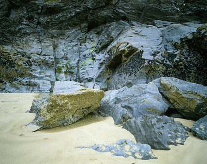 Close-up of rocks on the shore at Bedruthan Steps, Cornwall