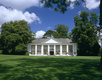 This shows the exterior of the orangery at Saltram, Devon