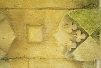 Close view of stone detailing at Lyveden New Bield, Peterborough, Northamptonshire