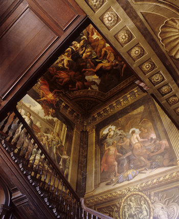 View upwards on the Painted Staircase in the Hall at Hanbury Hall