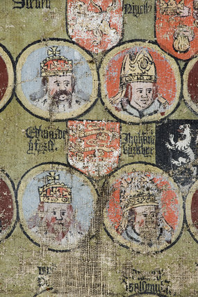 Detail of the Tabula Eliensis, a painted canvas dated 1596 in The Tower Room at Coughton Court, Warwickshire