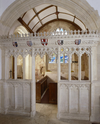 Carved stone screen in the Parish Church of All Saints at Great Chalfield Manor, near Melksham, Wiltshire