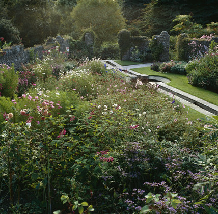 Overview of the garden and rill at Coleton Fishacre, the Arts & Crafts-style house designed in 1925 for Rupert and Lady Dorothy D'Oyly Carte, at Kingswear, Devon