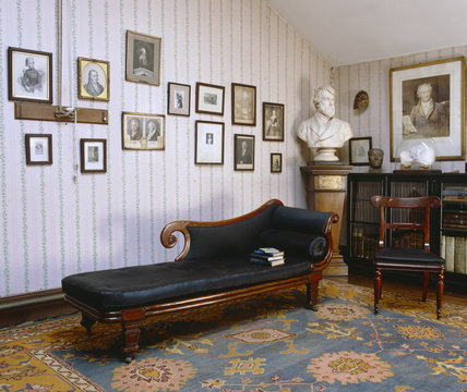 The Attic Study at Carlyle's House, 24 Cheyne Row, London, the home of writer Thomas Carlyle and his wife from 1834 to 1881