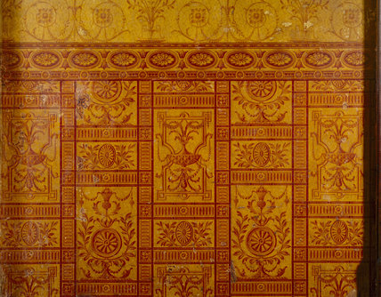 Detail of dado featuring varnished wallpaper with Robert Adam-style neo-classical motifs, in the Corridor off the Upstairs Lobby at Sunycroft
