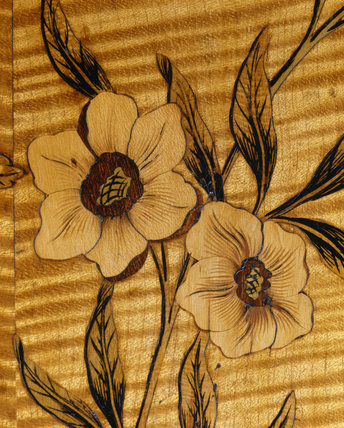 Flower design inlay on an 18th century commode at Nostell Priory