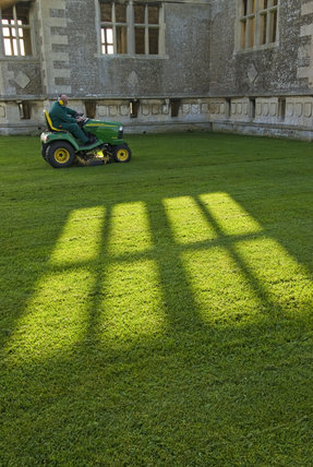 Long shadows and a sit-on mower at Lyveden New Bield, Peterborough, Northamptonshire