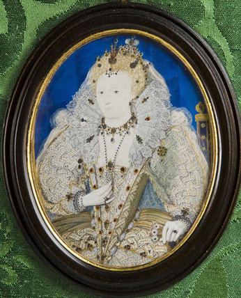Miniature of Elizabeth I by Nicholas Hilliard (1547-1619)  against the green damask of the Green Closet at Ham House, Richmond-upon-Thames