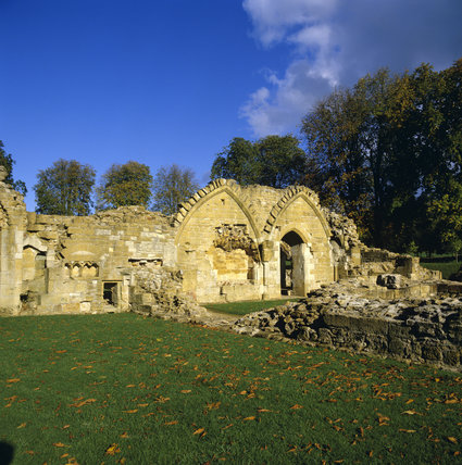 Ruins of Hailes Abbey, a Cistercian abbey founded in 1246