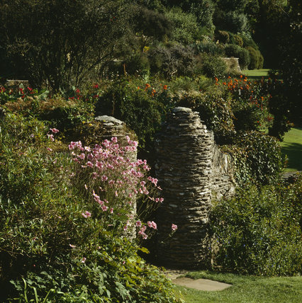 Drystone gate posts at Coleton Fishacre, the Arts & Crafts-style house designed in 1925 for Rupert and Lady Dorothy D'Oyly Carte, at Kingswear, Devon