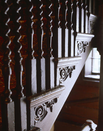 Close view of the Staircase at Carlyle's House, 24 Cheyne Row, London, the home of writer Thomas Carlyle and his wife from 1834 to 1881