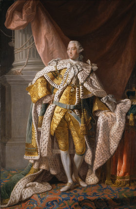 KING GEORGE III by Allan Ramsay (1713-1784) in full regal robes, after conservation by the Hamilton Kerr Institute