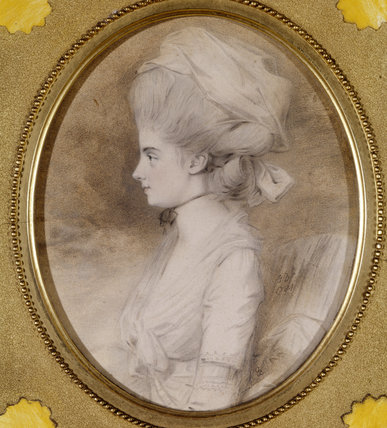 DOROTHEA BARNETTA HUCKS (1760-1820) wife of Antony Gibbs by John Downman, ARA, c.1785 in profile head and shoulders, at Tyntesfield,