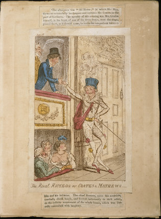 THE RIVAL ROMEOS OR COATES AND MATHEWS, a colour print circa 1800