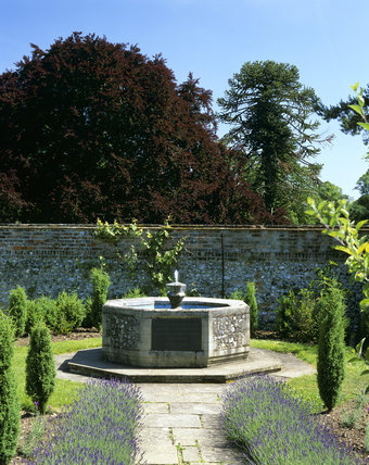 The octagonal tank, designed by Francis Pollen, in the old kitchen garden at Greys Court