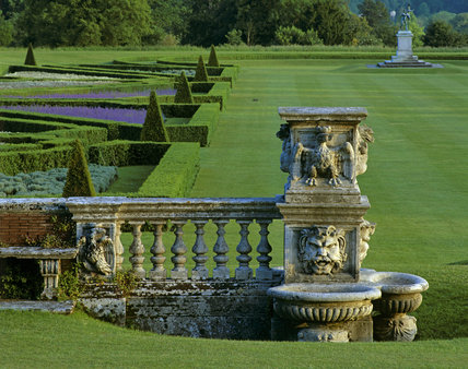 A view looking down to the parterre at Cliveden from the terrace at the back of the house