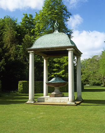 The Porphyry Urn installed under the specially built Temple, in the grounds of Anglesey Abbey