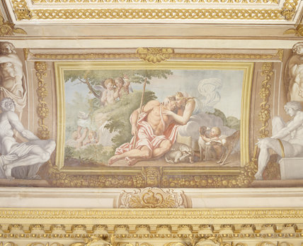 Partial view of the ceiling fresco depicting Diana and Endymion painted by Guiseppe Mattia Borgnis (1701-61) based on a ceiling in the Palazzo Farnese in Rome in the Ionic Temple at Rievaulx